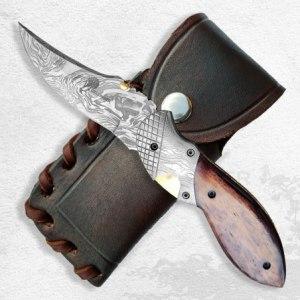 Lovecký zavírací nůž Dellinger Damascus Schnabel